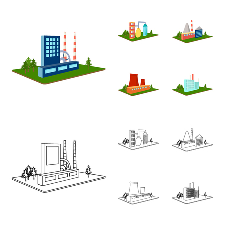 Factory and industry set collection illustration