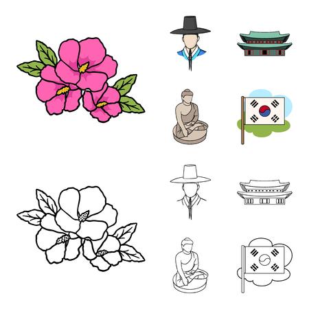 South korea set collection illustration