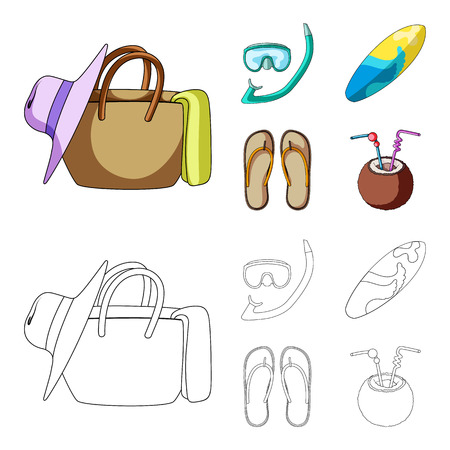 Summer vacation set collection icons illustration