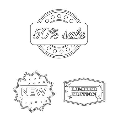 Verschiedene Aufkleberentwurfsikonen in der Satzsammlung für Design. Index- und Markenvektorsymbolvorrat-Netzillustration. Standard-Bild - 97993158