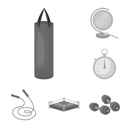 Boxing extreme sports monochrome icons in set collection for design. Boxer and attributes vector symbol stock web illustration.
