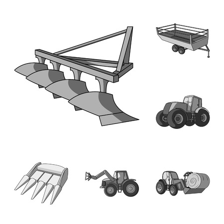 Agricultural machinery monochrome icons in set collection for design. Equipment and device vector symbol stock web illustration. Vectores