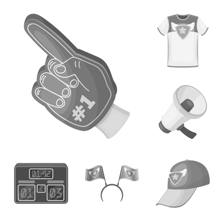 Fan and Attributes monochrome icons in set collection for design. Sports Fan vector symbol stock web illustration.