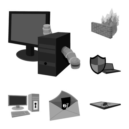 Hacker and hacking monochrome icons in set collection for design. Hacker and equipment vector symbol stock web illustration.