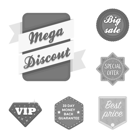 Different label monochrome icons in set collection for design. Index and brand vector symbol stock web illustration.