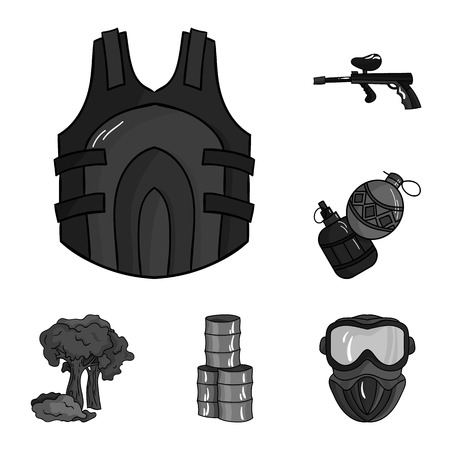 Paintball, team game monochrome icons in set collection for design. Equipment and outfit vector symbol stock web illustration. Illustration