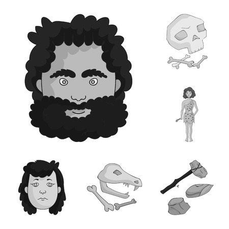 Life in the Stone Age monochrome icons in set collection for design. Ancient people vector symbol stock web illustration. Иллюстрация