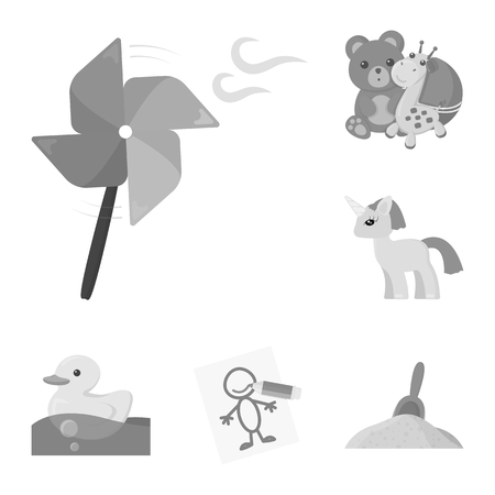 Children toy monochrome icons in set collection for design. Game and bauble vector symbol stock web illustration. Vectores