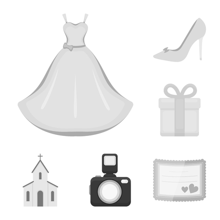 Wedding and Attributes monochrome icons in set collection for design.Newlyweds and Accessories vector symbol stock web illustration.