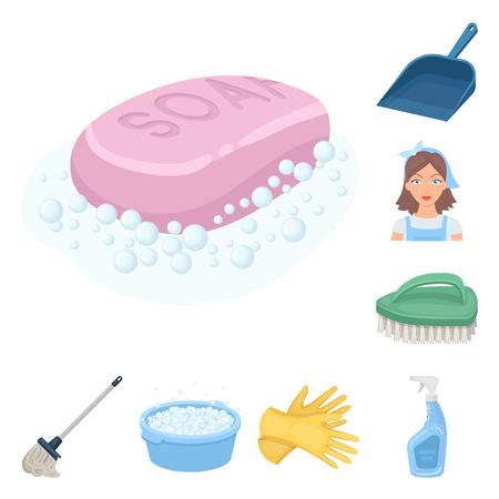 Limpieza y limpieza de iconos de dibujos animados en conjunto para el diseño. Equipo para la limpieza de ilustración vectorial símbolo stock web.