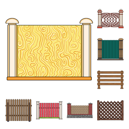 Different fence cartoon icons in set collection for design.Decorative fencing vector symbol stock web illustration. 일러스트
