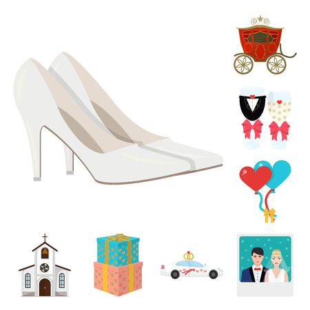 Wedding attributes cartoon icons in a set collection