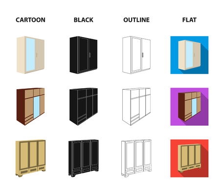 Set of wardrobe icons in cartoon, black, outline and flat style