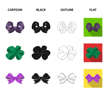 Set of ribbon icons in cartoon, black, outline and flat style. Vettoriali