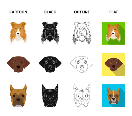 Set of different dog face icons in cartoon, black, outline and flat style 矢量图像