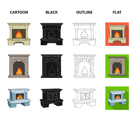Fireplace set collection icons in cartoon, black, outline and flat style Illustration