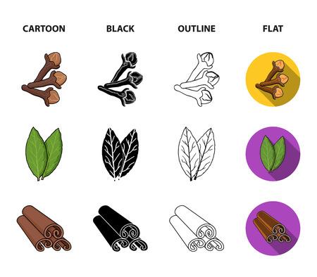 Clove, nutmeg and cinnamon herbs set collection icons in cartoon, black, outline and flat style v Ilustração