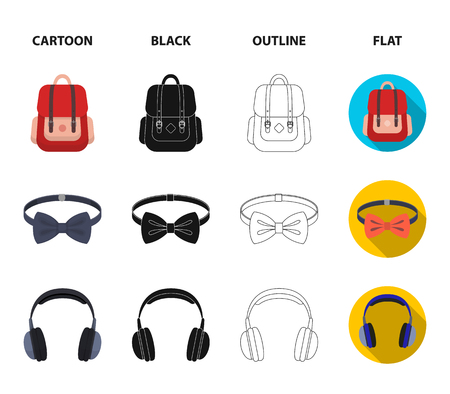 Cartoon, black, outline and flat style symbols of bags, ties and headphones