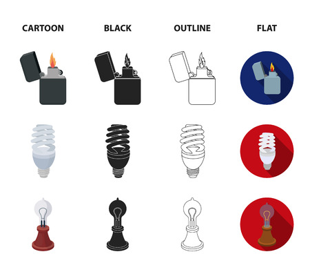 Lighter, light bulb and edison lamp set collection icons in cartoon, black, outline and flat style Illustration