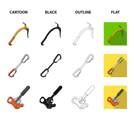 An ice ax and carbine equipment set collection icons in cartoon, black, outline and flat style Illustration