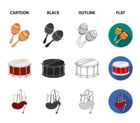 Maracas, drum and bagpipes set collection icons in cartoon, black, outline and flat style