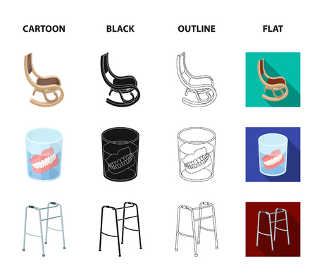 Denture, rocking chair and walker set collection icons in cartoon, black, outline and flat style Foto de archivo - 98227204