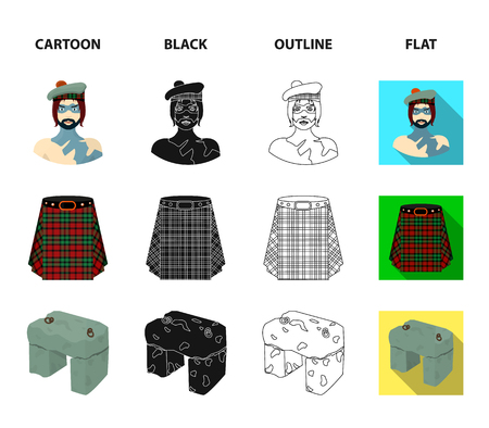 A man, tartan, kilt and scone stone icons in cartoon, black, outline and flat style
