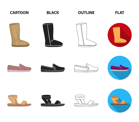 Beige ugg boots with fur, brown loafers with a white sole, sandals with a fastener, white and blue sneakers. Shoes set collection icons in cartoon,black,outline,flat style vector symbol stock illustration web.