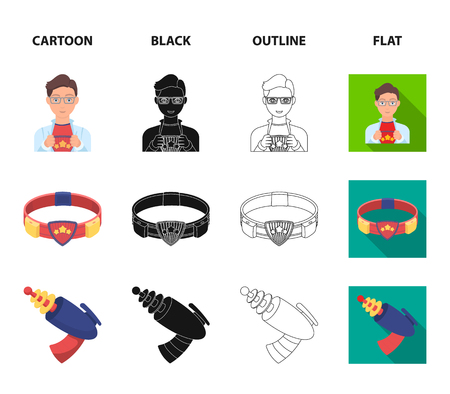 Man, young, glasses, and other web icon in cartoon,black,outline,flat style. Superhero, belt, gun icons in set collection. Illustration