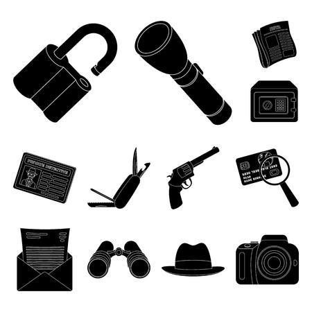 Detective and Attributes black icons in set collection for design.Detective Agency vector symbol stock web illustration. Иллюстрация