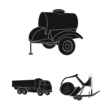 Agricultural machinery black icons in set collection for design. Equipment and device vector symbol stock web illustration. Stock Illustratie