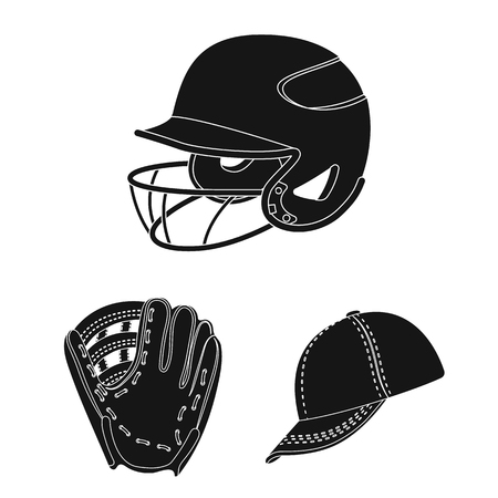 Baseball and attributes black icons in set collection for design.