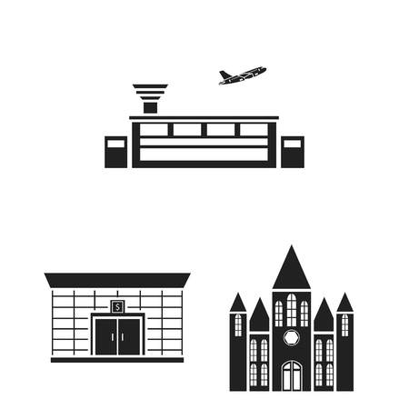 Building and architecture black icons in set collection for design.