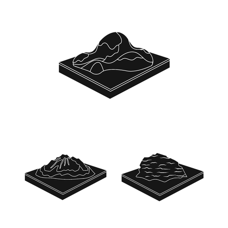 Mountains, massive black icons in set collection for design. The surface of the earth vector isometric symbol stock  illustration. Иллюстрация