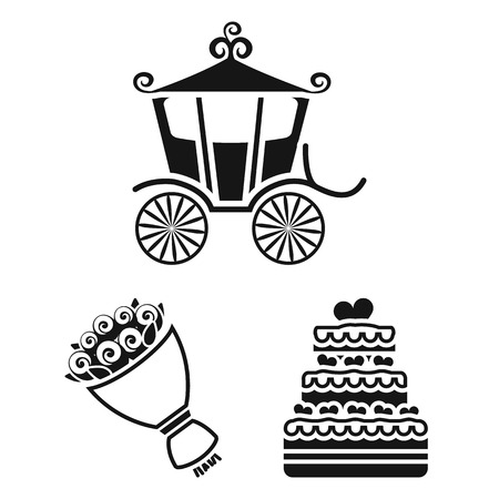 Wedding and Attributes black icons in set collection for design.
