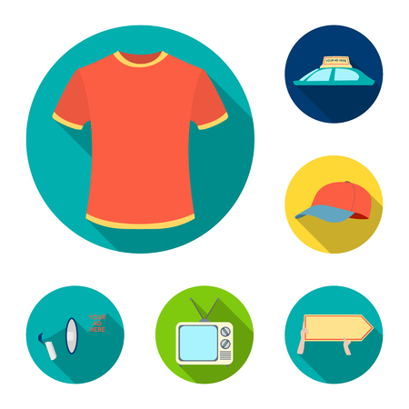 Production of advertising flat icons in set collection for design. Advertising equipment vector symbol stock  illustration.