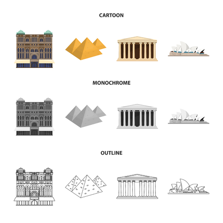 Sights of different countries cartoon,outline,monochrome icons in set collection for design.