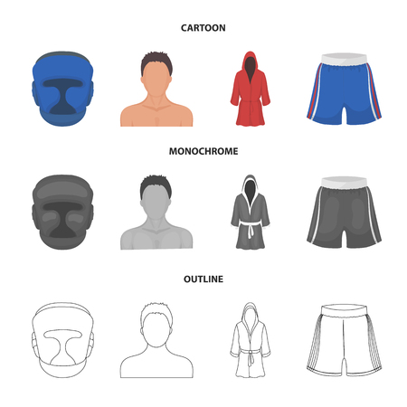 Boxing set collection icons in cartoon,outline,monochrome style vector symbol stock illustration web.