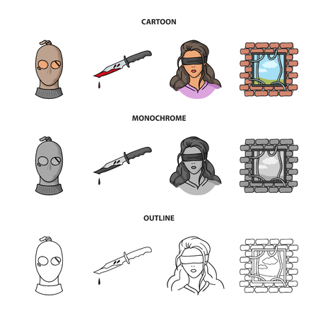 Crime set collection icons in cartoon,outline,monochrome style vector symbol stock illustration web. Vector Illustration