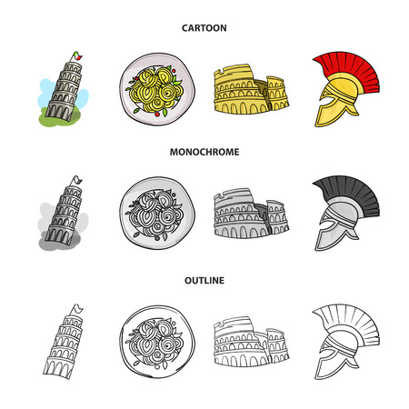 Pisa tower, pasta, coliseum, Legionnaire helmet.Italy country set collection icons in cartoon, outline, monochrome style vector symbol, stock illustration web.
