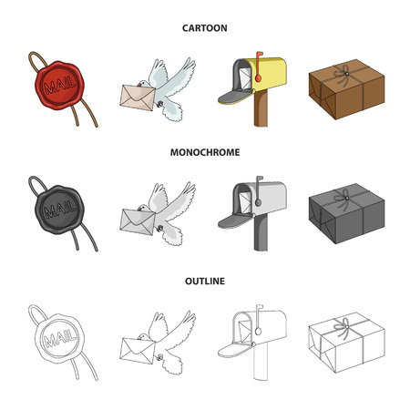 Wax seal, postal pigeon with envelope, mail box and parcel set collection icons in cartoon,outline,monochrome style vector symbol stock illustration web. Archivio Fotografico - 98403061