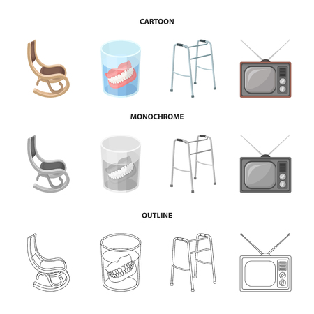 Denture, rocking chair, walker, old TV. Old age set collection icons in cartoon, outline, monochrome style vector symbol, stock illustration web.