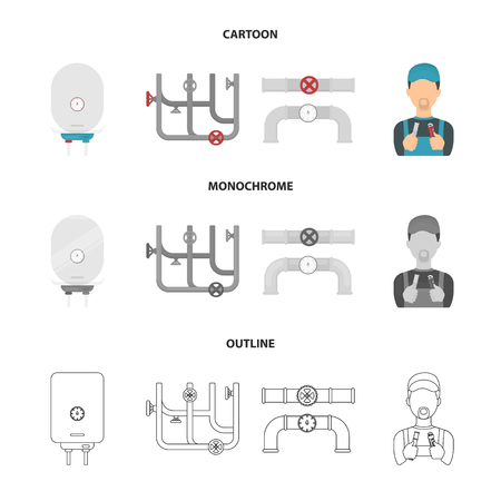 Plumbing set collection icons in cartoon,outline,monochrome style vector symbol stock illustration web.