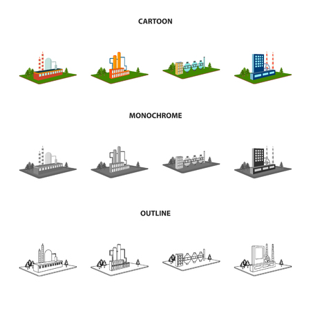 Processing factory, metallurgical plant. Factory and industry set collection icons in cartoon, outline, monochrome style isometric vector symbol stock illustration web. Stock Illustratie