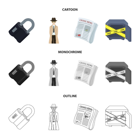 Crime and detective set collection icons in cartoon,outline,monochrome style vector symbol stock illustration web.  イラスト・ベクター素材