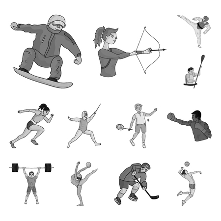 Different kinds of sports monochrome icons in set collection for design. Ilustracja