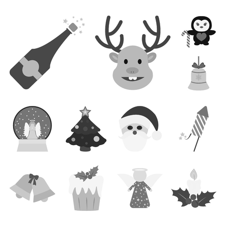 Christmas attributes and accessories monochrome icons in set collection for design. Ilustracja