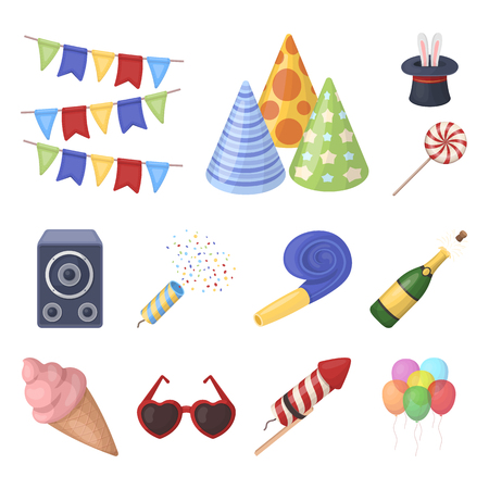 Party, entertainment cartoon icons in set collection for design. Celebration and treat vector symbol stock illustration. Stock Illustratie