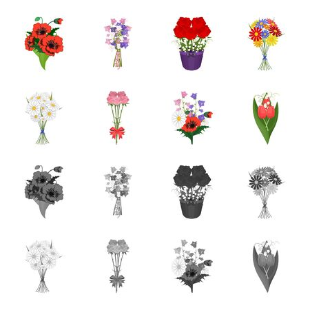 A bouquet of fresh flowers cartoon, monochrome icons in set collection for design. Various bouquets vector symbol stock web illustration. Illustration