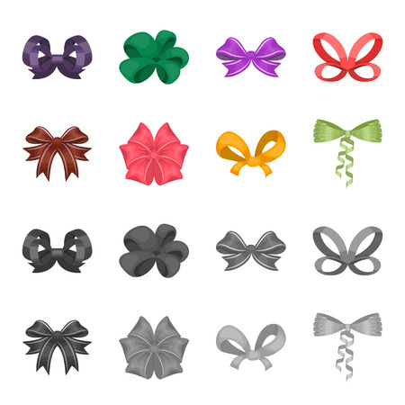 Bow, ribbon, decoration, and other web icon in cartoon, monochrome style.